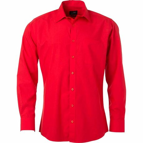 chemise popeline manches longues - JN678 - homme - rouge tomate