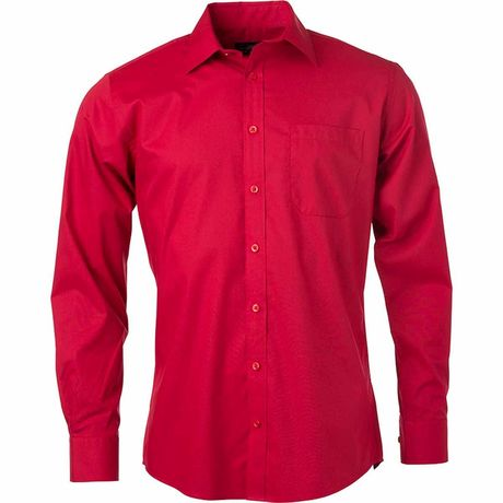 chemise popeline manches longues - JN678 - homme - rouge
