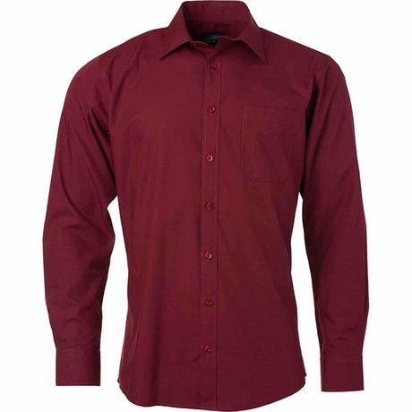 chemise popeline manches longues - JN678 - homme - rouge vin