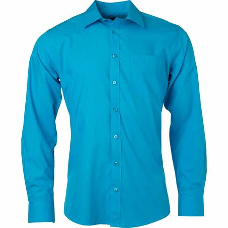 chemise popeline manches longues - JN678 - homme - bleu turquoise
