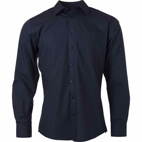 chemise popeline manches longues - JN678 - homme - bleu marine
