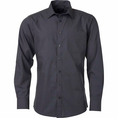 chemise popeline manches longues - JN678 - homme - gris carbone