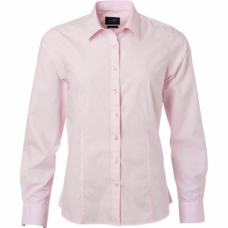 chemise popeline manches longues - JN677 - femme - rose clair