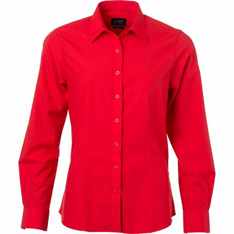 chemise popeline manches longues - JN677 - femme - rouge tomate