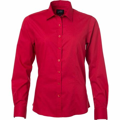 chemise popeline manches longues - JN677 - femme - rouge