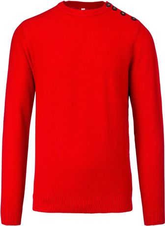 Pull col rond boutonné épaule homme - K960 - rouge