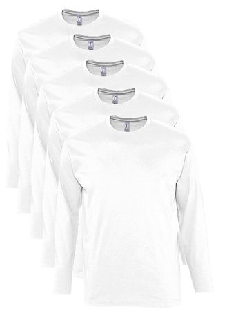lot 5 T-shirts manches longues HOMME - blanc