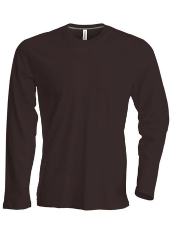 T-shirt manches longues col rond - K359 - marron chocolat - homme