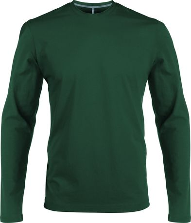 T-shirt manches longues col rond - K359 - vert forêt - homme