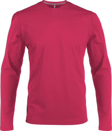 T-shirt manches longues col rond - K359 - rose fuchsia - homme