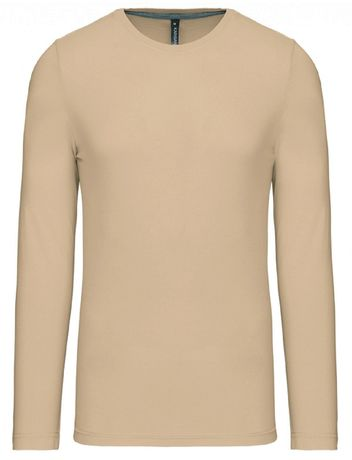 T-shirt manches longues col rond - K359 - beige - homme