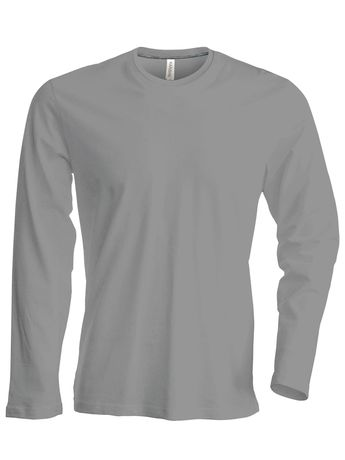 T-shirt manches longues col rond - K359 - gris oxford - homme