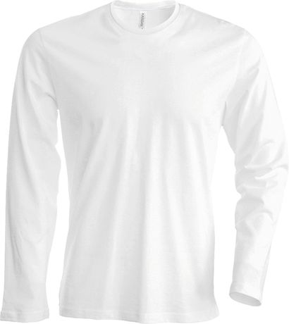 T-shirt manches longues col rond - K359 - blanc - homme