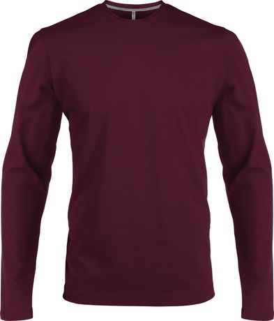 T-shirt manches longues col rond - K359 - rouge vin - homme