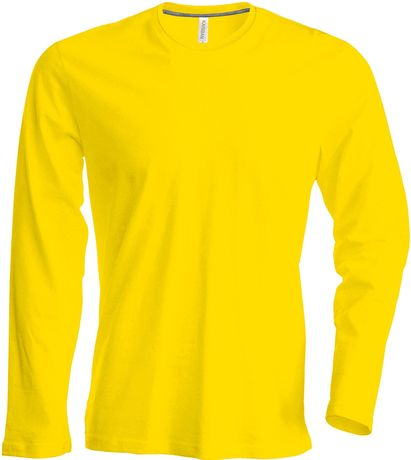 T-shirt manches longues col rond - K359 - jaune - homme