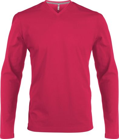 T-shirt manches longues col V - K358 - rose fuchsia - homme