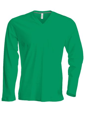 T-shirt manches longues col V - K358 - vert kelly - homme
