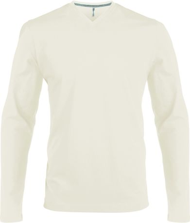 T-shirt manches longues col V - K358 - beige - homme