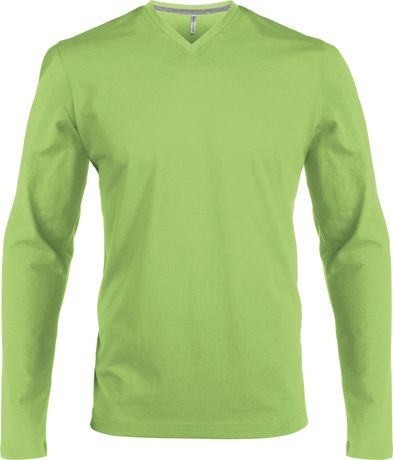 T-shirt manches longues col V - K358 - vert lime - homme