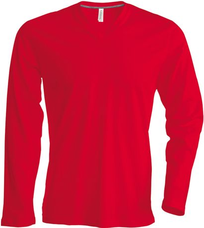 T-shirt manches longues col V - K358 - rouge - homme