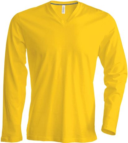T-shirt manches longues col V - K358 - jaune - homme