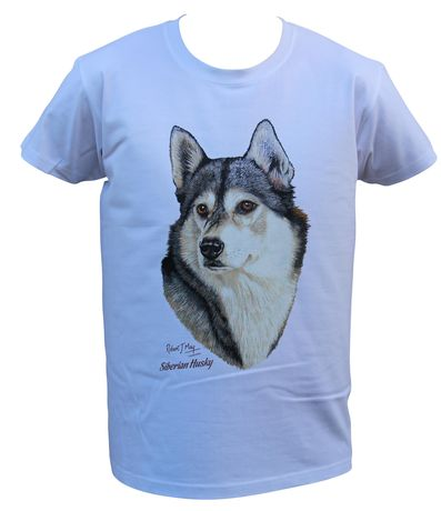 T-shirt homme manches courtes - Chien Husky 9646 - blanc
