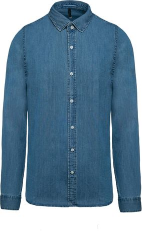 Chemise chambray manches longues - K512 - bleu - homme