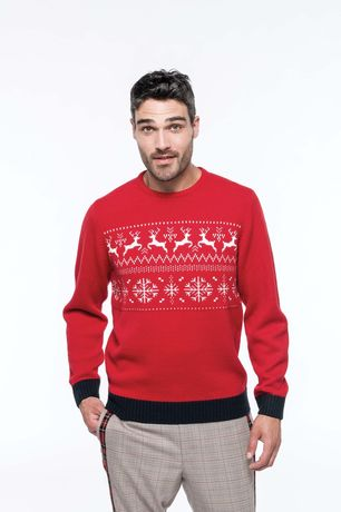 Pull laine motif rennes -  homme - K998 - rouge