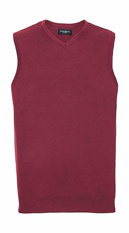 Pull col V sans manches homme - R-716M-0 rouge