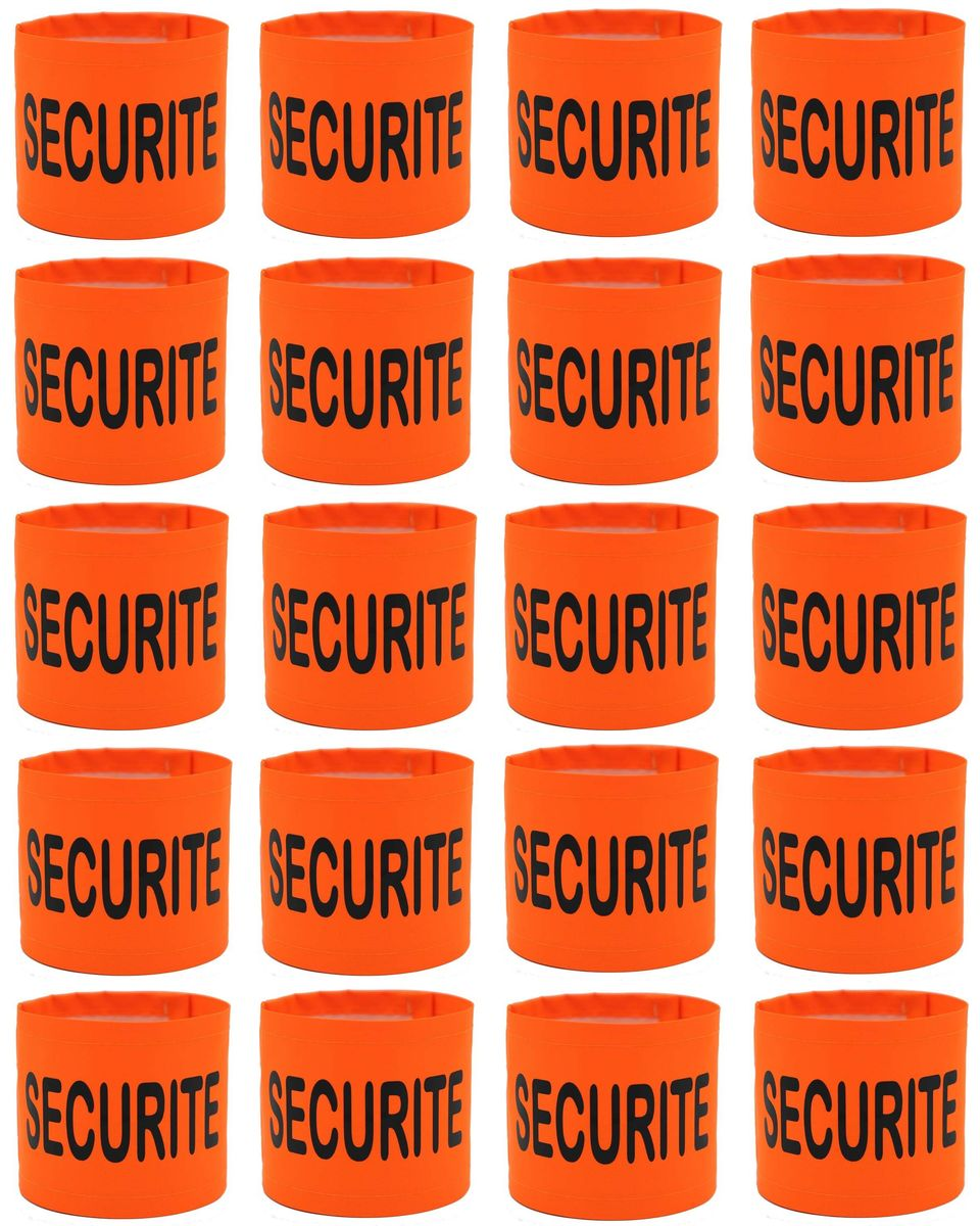 Lot de 20 brassards Sécurité orange