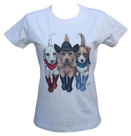 T-shirt femme manches courtes - chiens country 8004 - blanc