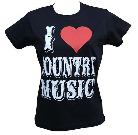 T-shirt femme manches courtes - I love country music 18289 - noir