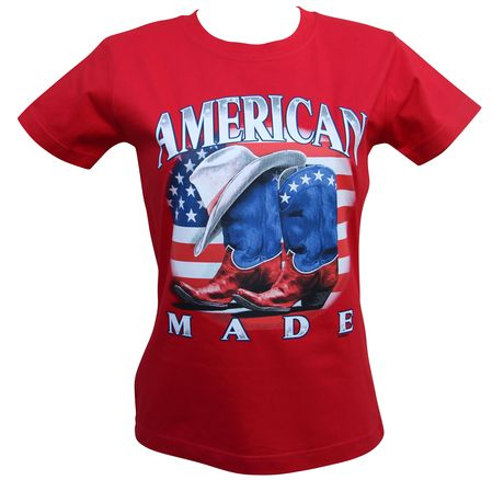 T-shirt femme manches courtes - American made - 9866 - rouge