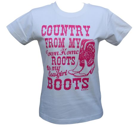 T-shirt femme manches courtes - Country Boots - 8714 - blanc