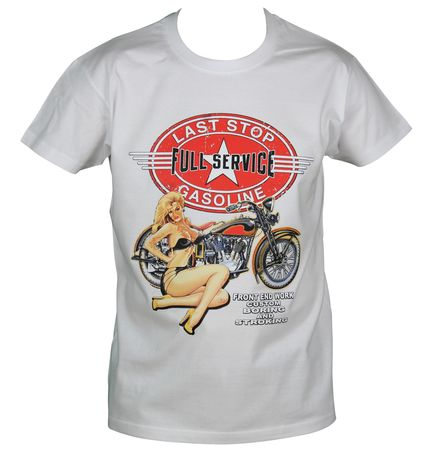 T-shirt homme manches courtes - Biker USA Pin'Up 2298 - blanc