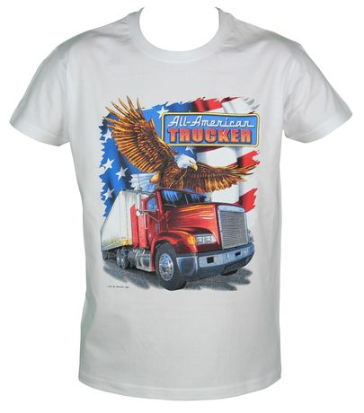 T-shirt homme manches courtes - Camion USA 11782 Trucker - blanc