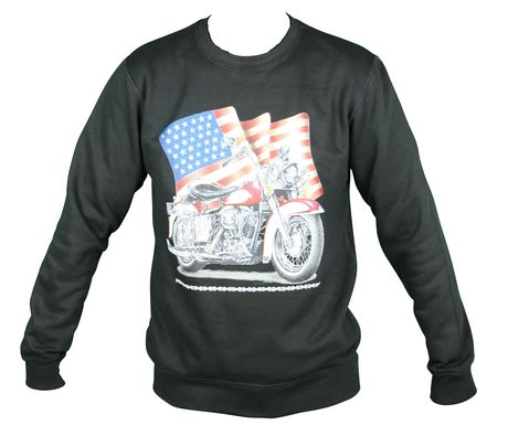 Sweat-shirt motif biker USA -  11634 - unisexe - noir