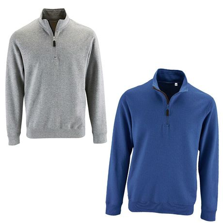 Lot 2 sweat-shirts col camionneur - bleu roi et gris chiné