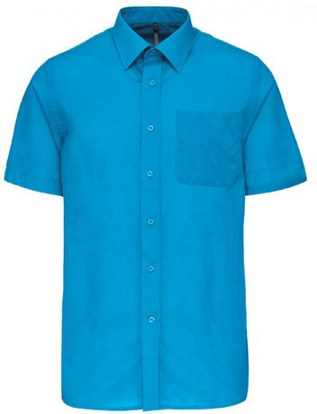 Chemise popeline manches courtes - K551- bleu turquoise - homme