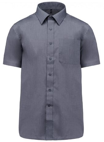 Chemise popeline manches courtes - K551- gris urban - homme