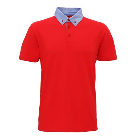 Polo col denim boutonné homme - AQ007 - rouge