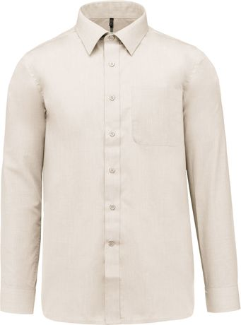 Chemise popeline manches longues - K545 - beige angorra - homme