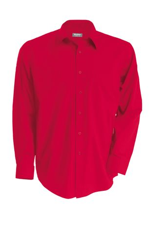Chemise popeline manches longues - K545 - rouge - homme