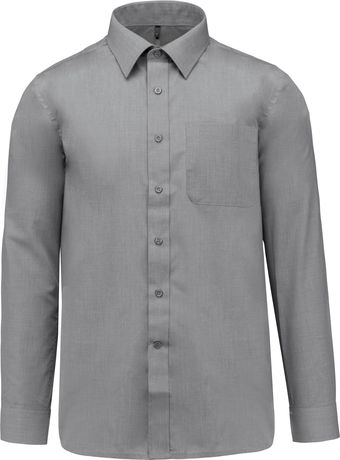 Chemise popeline manches longues - K545 - gris merle - homme