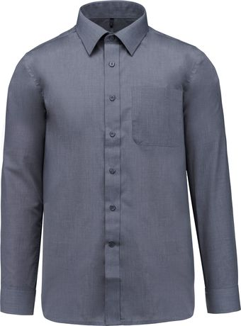 Chemise popeline manches longues - K545 - gris urban - homme