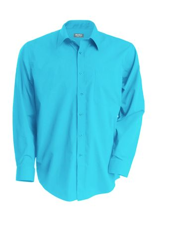 Chemise popeline manches longues - K545 - bleu turquoise - homme