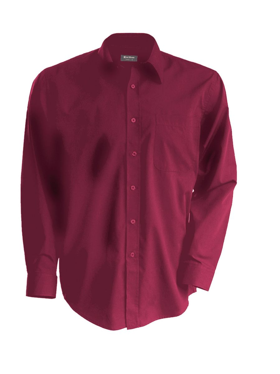 Chemise popeline manches longues K545 rouge vin homme