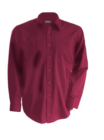 Chemise popeline manches longues - K545 - rouge vin - homme