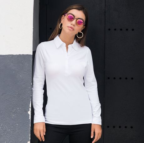 Polo stretch manches longues - femme -SK044 - blanc