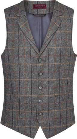 Gilet tweed sans manches - BT1463 - gris brown veston serveur homme